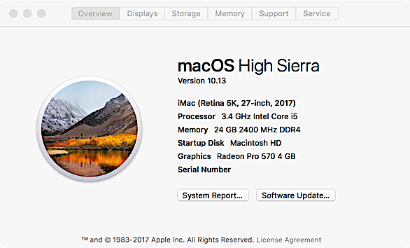 MacOS High Sierra About Box